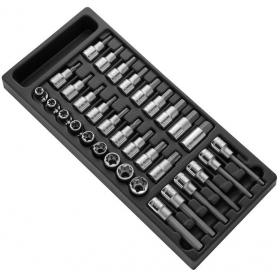 """E032922 - 1/2"""" Screwdriver and TORX® bit sockets module E10 - E24, 5 - 17 mm, T20 - T60"""